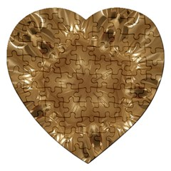 Elegant Gold Brown Kaleidoscope Star Jigsaw Puzzle (heart) by yoursparklingshop