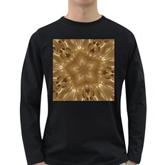 Elegant Gold Brown Kaleidoscope Star Long Sleeve Dark T-shirts by yoursparklingshop