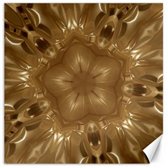 Elegant Gold Brown Kaleidoscope Star Canvas 16  X 16   by yoursparklingshop