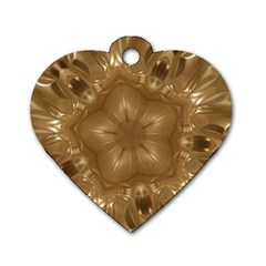 Elegant Gold Brown Kaleidoscope Star Dog Tag Heart (one Side) by yoursparklingshop