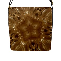 Elegant Gold Brown Kaleidoscope Star Flap Messenger Bag (l)  by yoursparklingshop