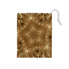 Elegant Gold Brown Kaleidoscope Star Drawstring Pouches (medium)  by yoursparklingshop