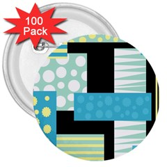 Blue Collage 3  Buttons (100 Pack)  by Valentinaart