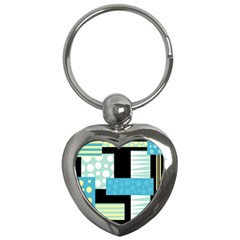 Blue Collage Key Chains (heart)  by Valentinaart