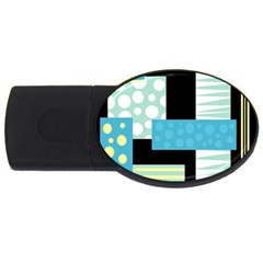 Blue Collage Usb Flash Drive Oval (4 Gb)  by Valentinaart