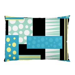 Blue Collage Pillow Case (two Sides) by Valentinaart