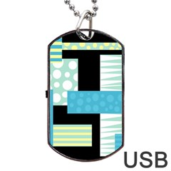 Blue Collage Dog Tag Usb Flash (one Side) by Valentinaart