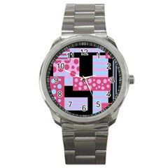 Pink Collage Sport Metal Watch by Valentinaart