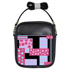 Pink Collage Girls Sling Bags by Valentinaart
