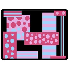 Pink Collage Double Sided Fleece Blanket (large)  by Valentinaart