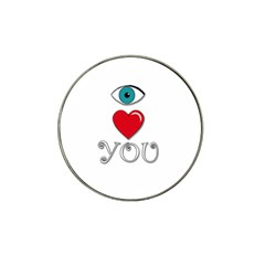 I Love You Hat Clip Ball Marker by Valentinaart