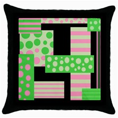 Green And Pink Collage Throw Pillow Case (black) by Valentinaart