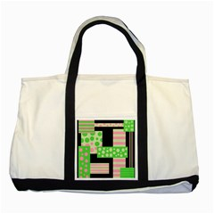 Green And Pink Collage Two Tone Tote Bag by Valentinaart