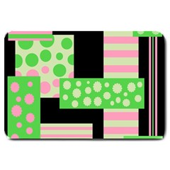 Green And Pink Collage Large Doormat
