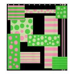 Green And Pink Collage Shower Curtain 66  X 72  (large)  by Valentinaart