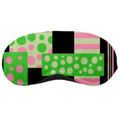 Green And Pink Collage Sleeping Masks