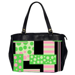 Green And Pink Collage Office Handbags (2 Sides)  by Valentinaart