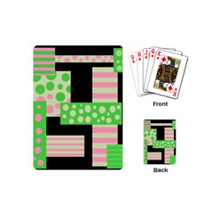 Green And Pink Collage Playing Cards (mini)  by Valentinaart