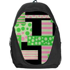 Green And Pink Collage Backpack Bag by Valentinaart