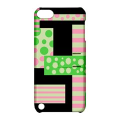 Green And Pink Collage Apple Ipod Touch 5 Hardshell Case With Stand by Valentinaart