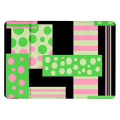 Green And Pink Collage Samsung Galaxy Tab 8 9  P7300 Flip Case by Valentinaart