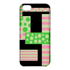 Green And Pink Collage Apple Iphone 5c Hardshell Case