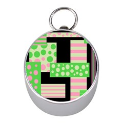 Green And Pink Collage Mini Silver Compasses