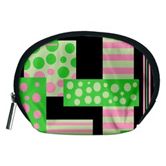 Green And Pink Collage Accessory Pouches (medium)  by Valentinaart