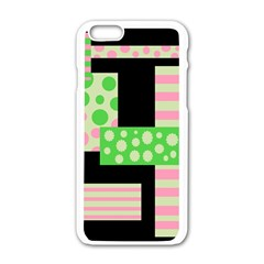 Green And Pink Collage Apple Iphone 6/6s White Enamel Case by Valentinaart