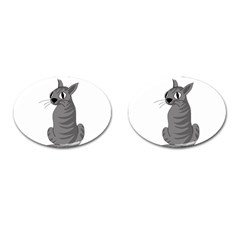 Gray Cat Cufflinks (oval) by Valentinaart