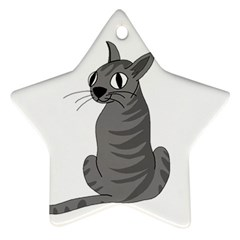Gray Cat Star Ornament (two Sides)  by Valentinaart