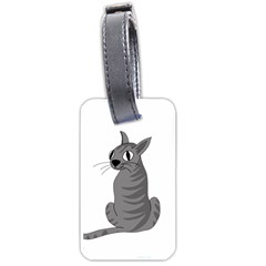 Gray Cat Luggage Tags (one Side)