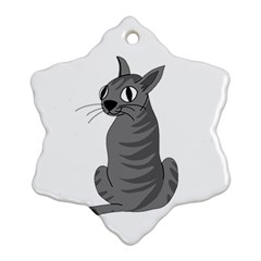Gray Cat Ornament (snowflake)  by Valentinaart