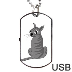 Gray Cat Dog Tag Usb Flash (one Side) by Valentinaart