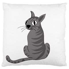Gray Cat Large Cushion Case (two Sides)