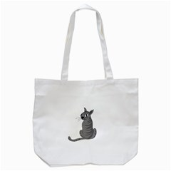 Gray Cat Tote Bag (white) by Valentinaart