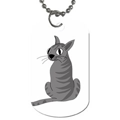 Gray Cat Dog Tag (two Sides) by Valentinaart
