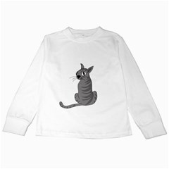 Gray Cat Kids Long Sleeve T Shirts by Valentinaart