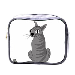 Gray Cat Mini Toiletries Bags by Valentinaart