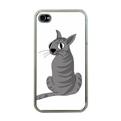 Gray Cat Apple Iphone 4 Case (clear) by Valentinaart
