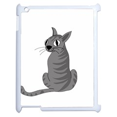 Gray Cat Apple Ipad 2 Case (white) by Valentinaart