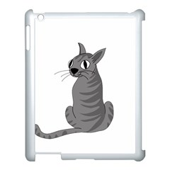 Gray Cat Apple Ipad 3/4 Case (white) by Valentinaart