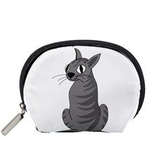 Gray Cat Accessory Pouches (small)  by Valentinaart
