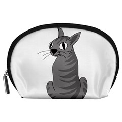Gray Cat Accessory Pouches (large)  by Valentinaart