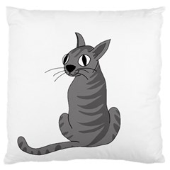 Gray Cat Standard Flano Cushion Case (one Side) by Valentinaart