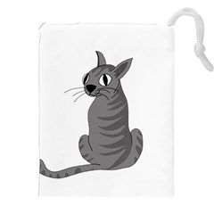 Gray Cat Drawstring Pouches (xxl) by Valentinaart