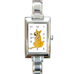 Yellow cat Rectangle Italian Charm Watch