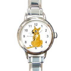 Yellow cat Round Italian Charm Watch