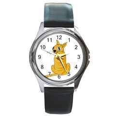 Yellow cat Round Metal Watch