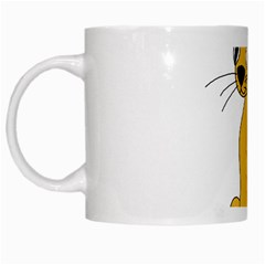 Yellow cat White Mugs